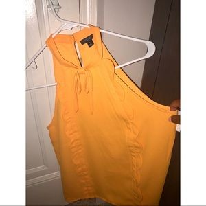 Yellow Top with Bow Detail and Ruffles